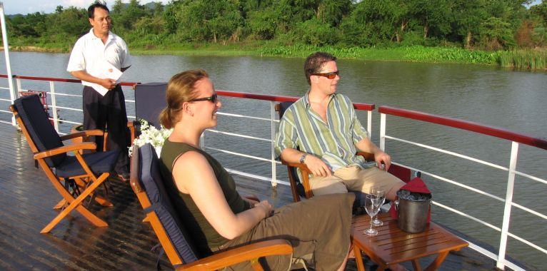 Enjoy stunning river views on deck of the RV River Kwai