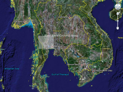 Thailand and River Kwai Cruising Area Map